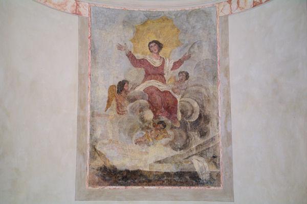 Peinture murale dans la Collégiale Saint-Barthélemy de Pimbo