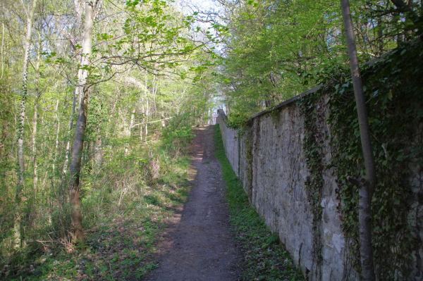 Le chemin longeant le mur d_enceinte du Château d_Ecouen