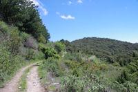 Le chemin sous le flanc Sud du Roc de l'Aigle
