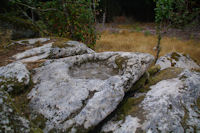 Un benitier creuse dans le roc au Rec del Bosc