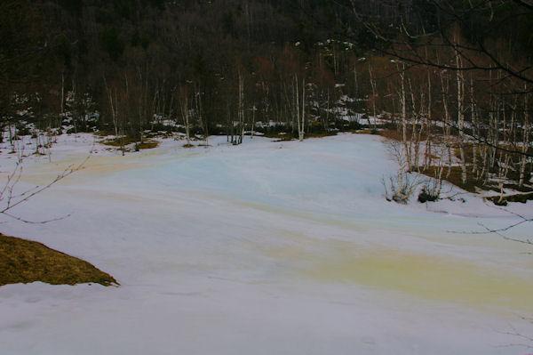 Glace colorée à el Pla avant d&#39arriver à Porté Puymorens