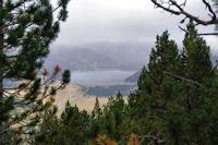 Le lac des Bouillouses depuis la foret domaniale de la Calma