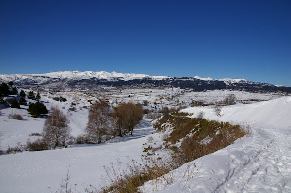 La Coma Enlla, au fond, Font Romeu dominé par le massif du Carlit