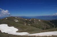 La crete frontiere, la Tossa del Pas dels Lladres et le Pic de Duraneu au dessus de la Station d'Err - Puigmal