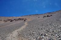 La descente raide mais amusante de la face Nord du M'Goun