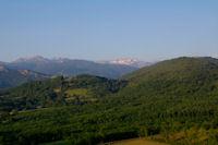 Au premier plan a droite, la Lauzere, au second plan, le Tuc de Castera encadre par le Mont Valier et le Pic de Barlonguere au fond