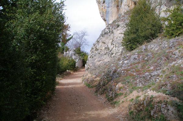 Le chemin sous les falaises montant au château de Roquefixade