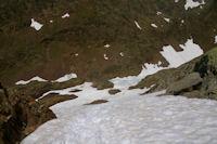 Le neve descendant vers l'Etang du Montcalm