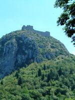 Vue sur le chateau de Montsegur depuis Plancat