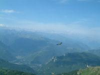 Un vautour volant vers la vallee de l'Ariege