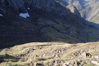 La montee vers le Col de Faustin au dessus du Vallon des Estagnous