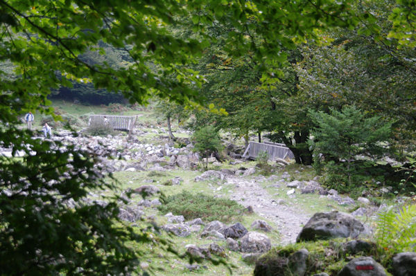 Les passerelles permettant de passer rive gauche du Ribérot