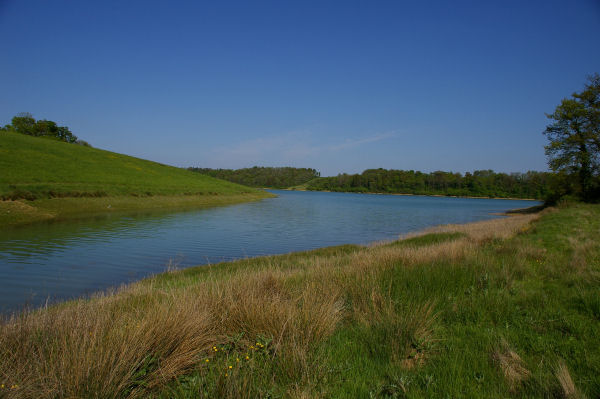 Vue depuis le fond d'une anse du lac sous Ducassé