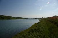 Vue du fond du lac de la Gimone depuis Vidou