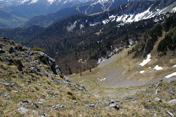Vue plongeante sur la montée au Col du Pas de l&#39Ane
