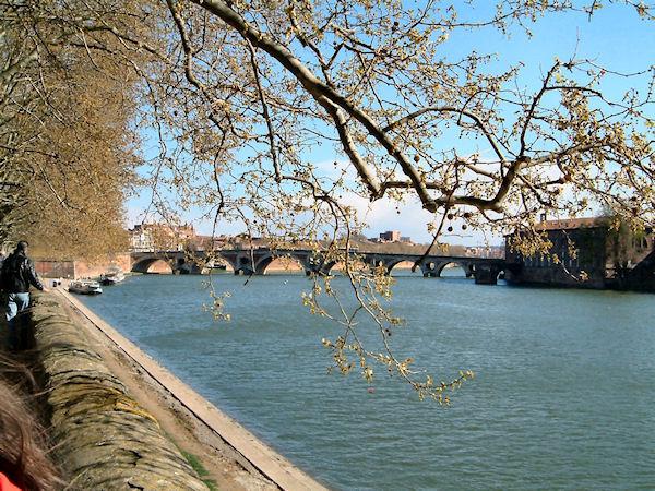 L'Hotel Dieu Saint Jacques et le Pont Neufdepuis les berges Garonne rive droite
