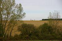 Le clocher de l'eglise de Ste Foy de Peyrolieres depasse des cretes des Graves