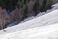 Coulée de neige provenant de la crête de Téchouède