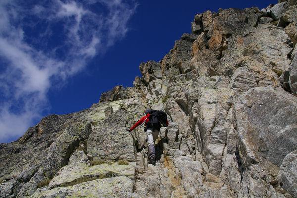 La seconde cheminée juste avant d'arriver au sommet du Pic des Spijeoles