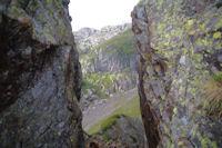 La breche entaillant la crete Est descendant du Pic de l'Arcoeche