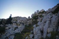 Passage pour descendre du Pic de Bazes, vu du bas