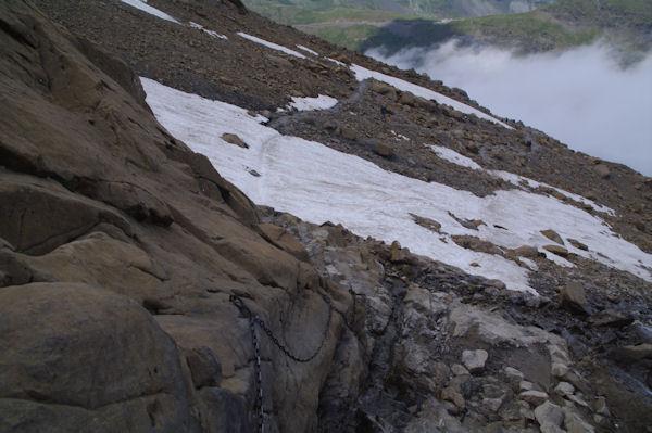 Le passage à chaine au début de la cascade du glacier du Taillon