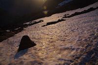 Premier neve au soleil levant