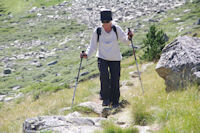 Marie Francoise redescendant du Pic d'Estaragne