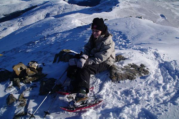 Julie au sommet du Soum de Maucasau