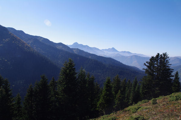 Au dessus de la Forêt de Berne, au fond, l_Arbizon et le Pic du Midi de Bigorre