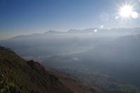Le Hautacam, le Montaigu et le Pic du Midi de Bigorre au dessus de la vallee d'Argeles