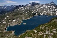 Le Lac de Migouelou, au centre au fond, le Balaitous, a droite, le Pic Palas