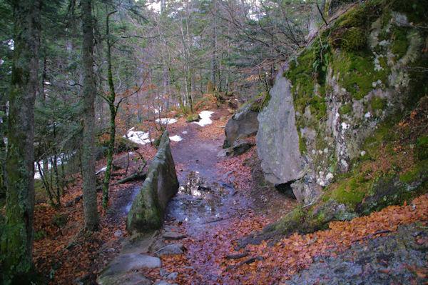 Le sentier au dessus de la Cascade de Boussès