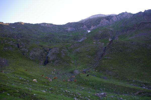 Le vallon de Couyéou Mayou surplombée par la crête entre le Pic de Louesque et le Grand Gabizos