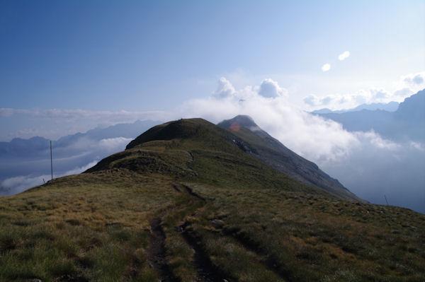 La crête herbeuse entre le Pic de Tentes et le Pic de la Pahule