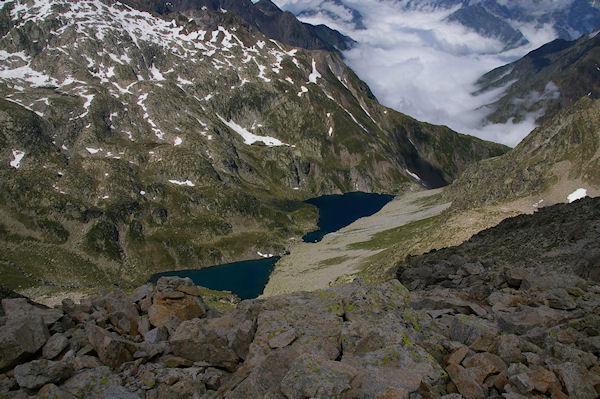 Le Lac de Bugarret et le Lac  Coueyla Det Mey depuis les crêtes menant au Turon de Néouvielle