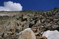 La caillasse en descendant vers le Col de Coume Estrete