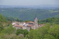 L'eglise de Lacrouzette depuis La Bouriatte