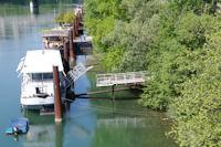 Les peniches sur le Rhone depuis le Pont Morand