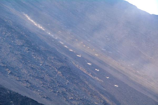 Les rochers incandescents dévalent la Sciara del Fuoco