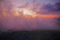 Coucher de soleil dans les fumeroles du Vulcano